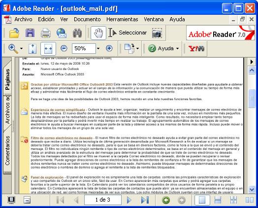 Convertir un mensaje de correo electrónico de Outlook a